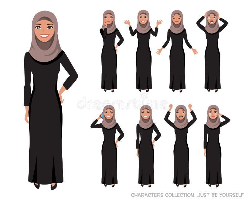 Arab women character set of emotions stock illustration