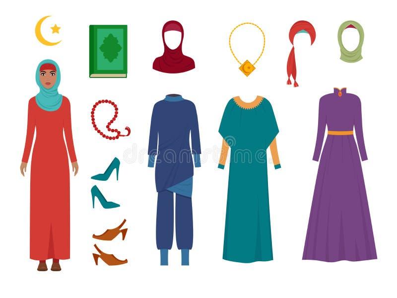 Arab women clothes. National islamic fashion female wardrobe items headscarf hijab dress iranian muslims turkish girls royalty free illustration
