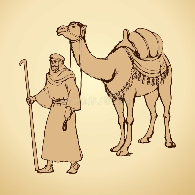 Arab z wielbłądzi pogrążonym rysuje tła trawy kwiecistego wektora royalty ilustracja