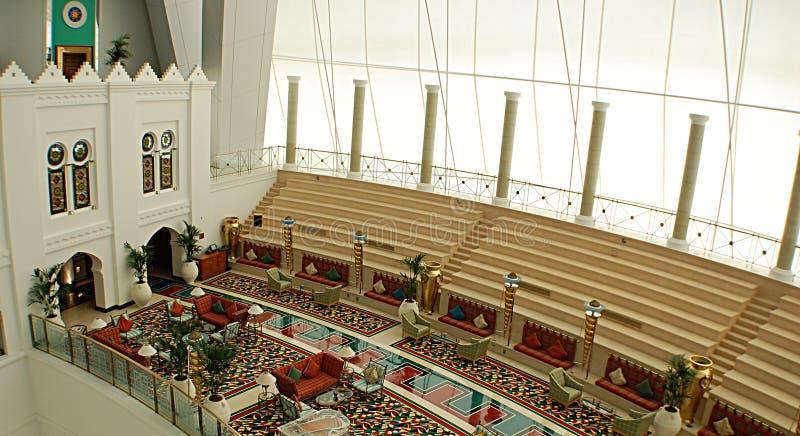 Arabe d'Al de Burj à l'intérieur photo stock