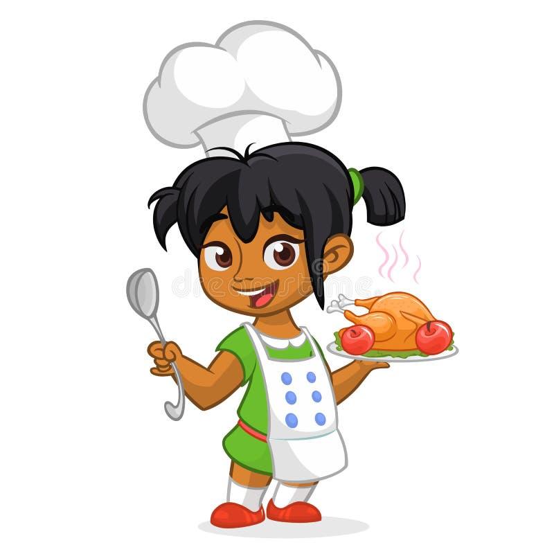 Arabe de bande dessinée le petit ou fille mignon d'Afro-américain dans la portion de tablier a rôti la dinde de thanksgiving illustration stock