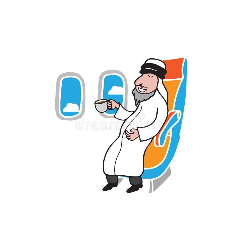 Arabe et café de passager de carlingue d'avion illustration libre de droits
