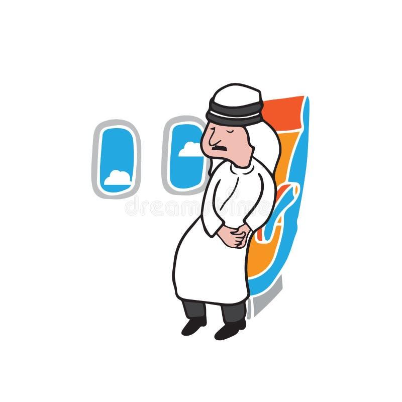 Arabe islamique de passager de carlingue d'avion illustration stock