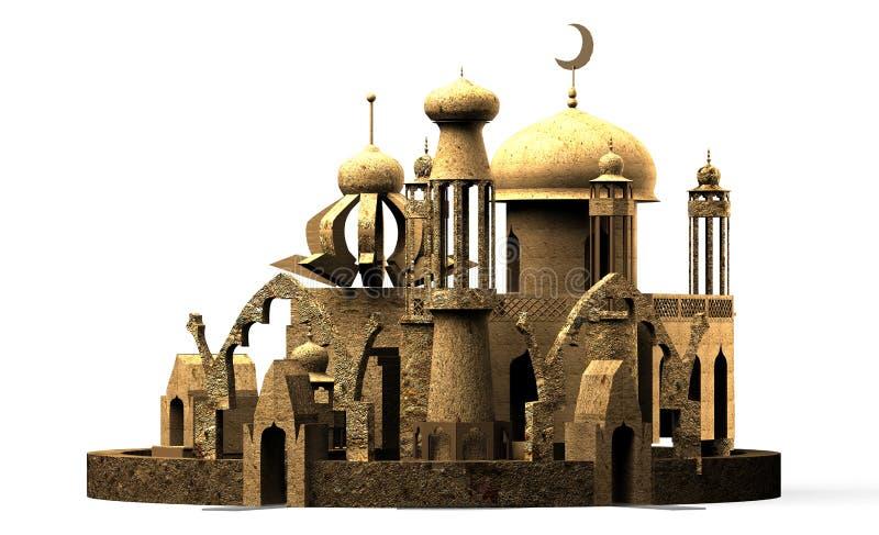 arabel 城市清真寺尖塔, 3d翻译 库存照片