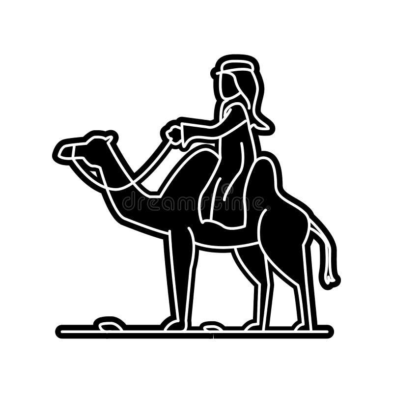 Araber auf einer Kamelikone Element von arabischem f?r bewegliches Konzept und Netz Appsikone Glyph, flache Ikone f?r Websiteentw stock abbildung