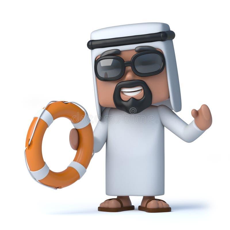 Araber 3d kommt zur Rettung stock abbildung