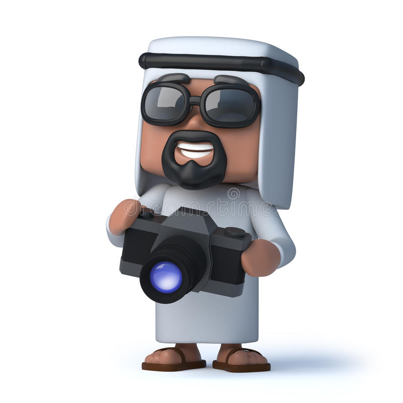 Araber 3d macht ein Foto mit seiner Kamera lizenzfreie abbildung