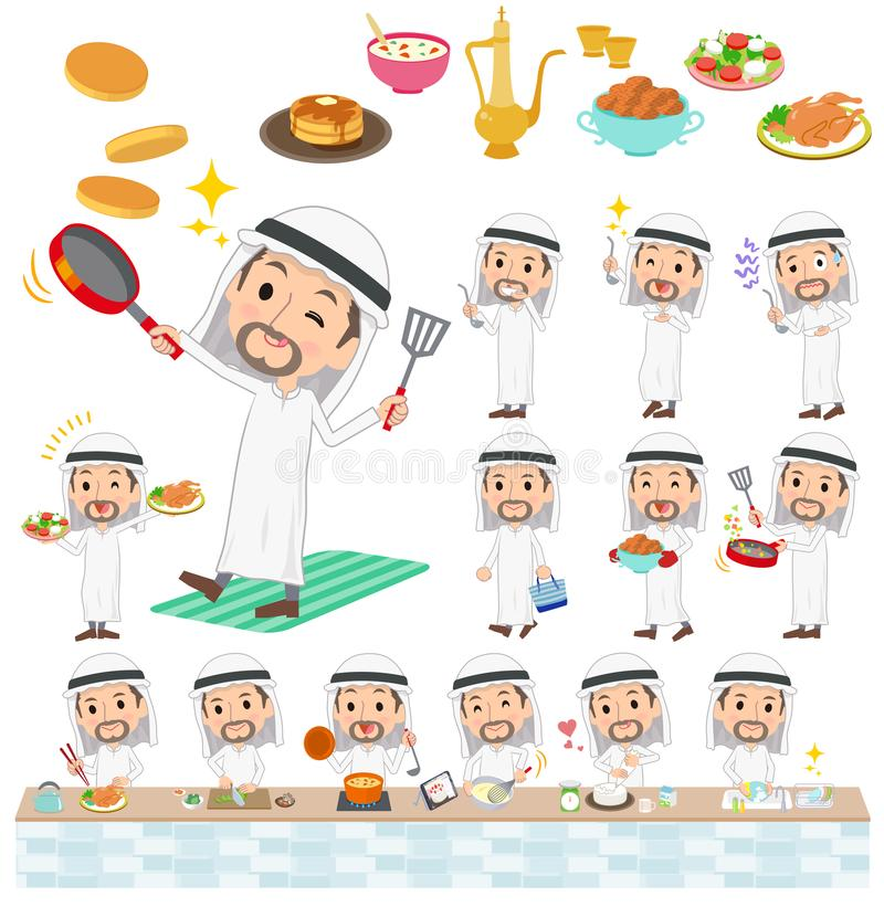 Araber Kandura tragendes Men_cooking vektor abbildung