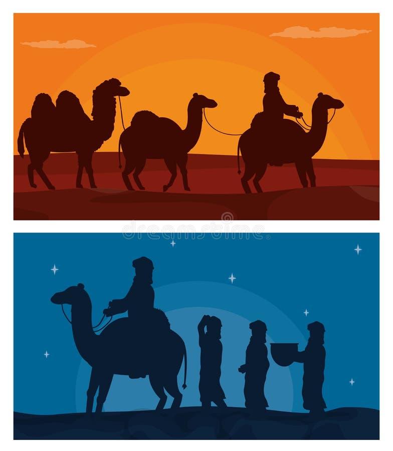 Araber mit Kamelen auf Wüste lizenzfreie abbildung