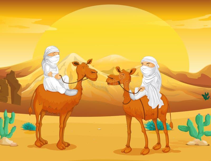 Araber som rider på kamel på öknen royaltyfri illustrationer