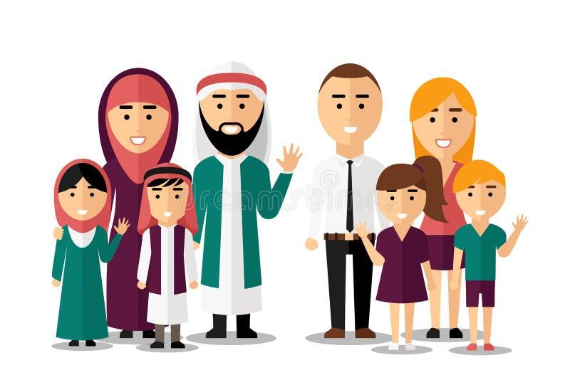 Araber und europäische glückliche Familien Vektorsatz von lizenzfreie abbildung
