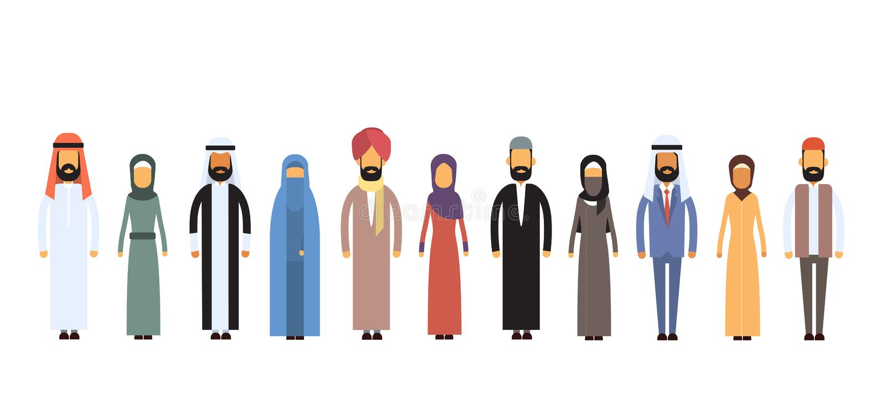 Araber-unterschiedliche Leute-Gruppe flach stock abbildung