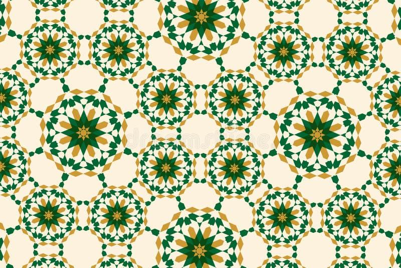 Arabesk w marokańskim stylu z zielenią i złocistym kolorem ilustracja wektor