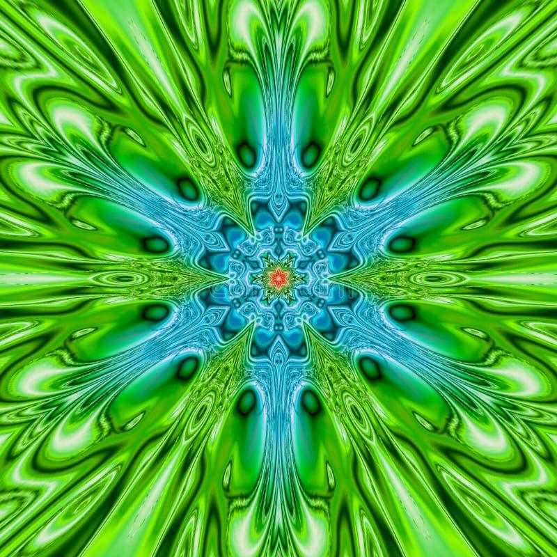 Arabeskowa postać w zieleni i projektach błękitnych, geometrycznych i kwiecistych, Mistyczny i ikonowy wizerunek ilustracji