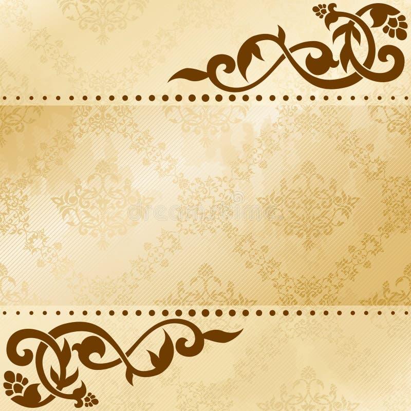 arabeskowego tła kwieciści sepiowi brzmienia royalty ilustracja
