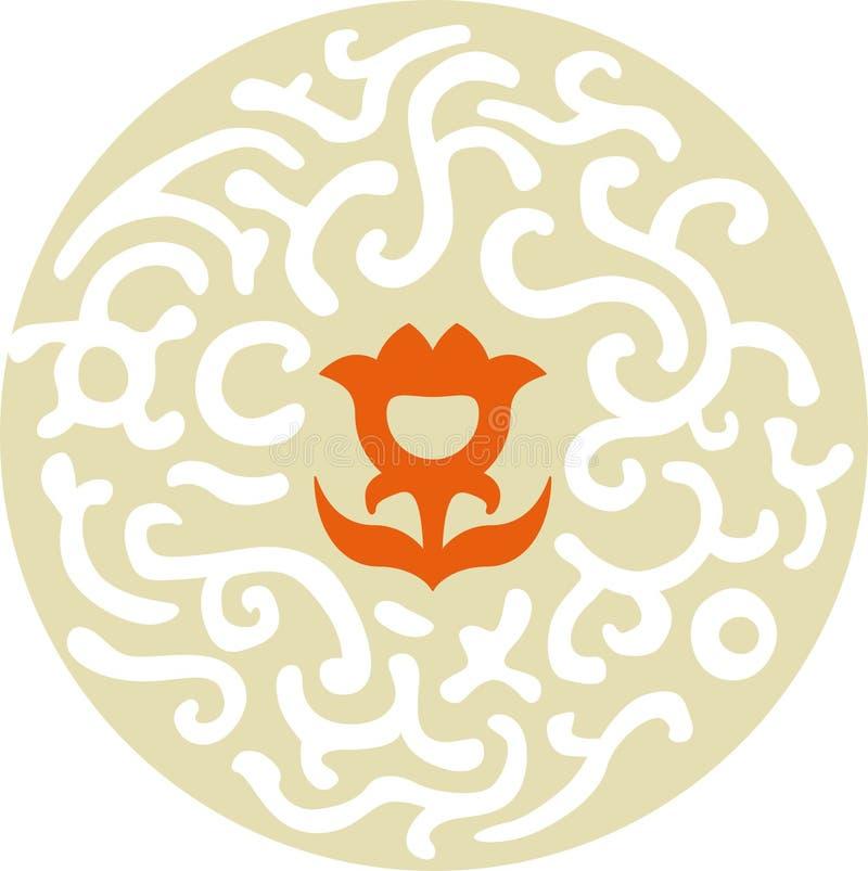 Arabeskowy ornament z środkowym pomarańczowym kwiatem royalty ilustracja