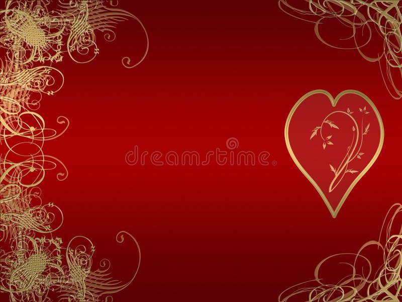 arabesque χρυσή καρδιά σχεδίου ελεύθερη απεικόνιση δικαιώματος