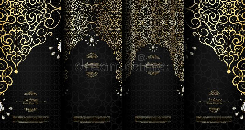 Arabesque abstract islamic element classy black and gold background card template vector set. Design royalty free illustration