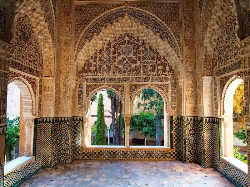 Arabesque architecture at the alhambra in granada spain for Alhambra decoration