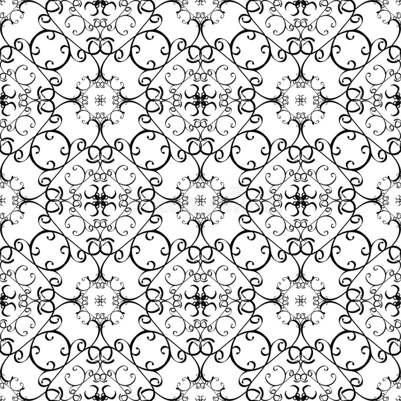 Arabesque black and white vector lines seamless pattern. Hand drawn line art tracery arabic style oriental ornament. Monochrome. Patterned white background stock illustration