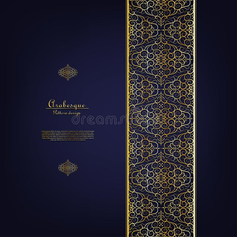 Arabesque blue element classic gold background border vector. Design stock illustration