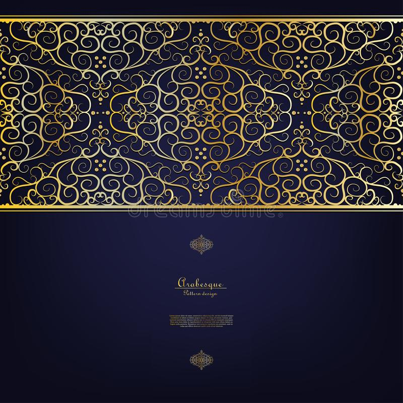 Arabesque blue gold background border vector. Design royalty free illustration