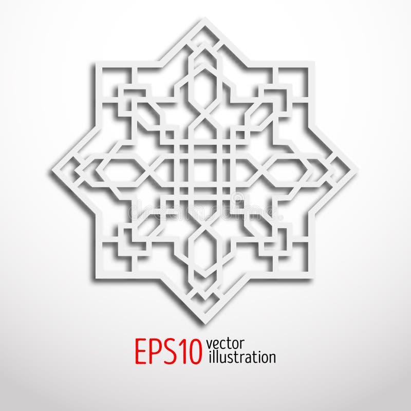 Arabesque design in 3d. Eastern pattern. Sacral geometry. Arabesque design in 3d. Eastern pattern. Sacral geometry figure stock illustration