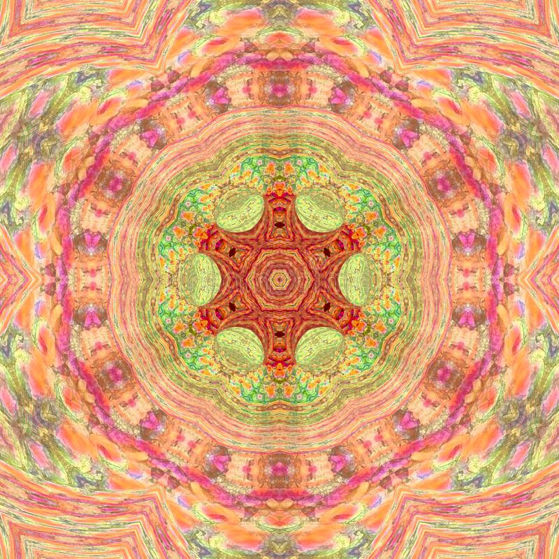 Arabesque do estilo de Mandala Meditative Asian em cores pálidas cor-de-rosa e alaranjadas fotos de stock royalty free