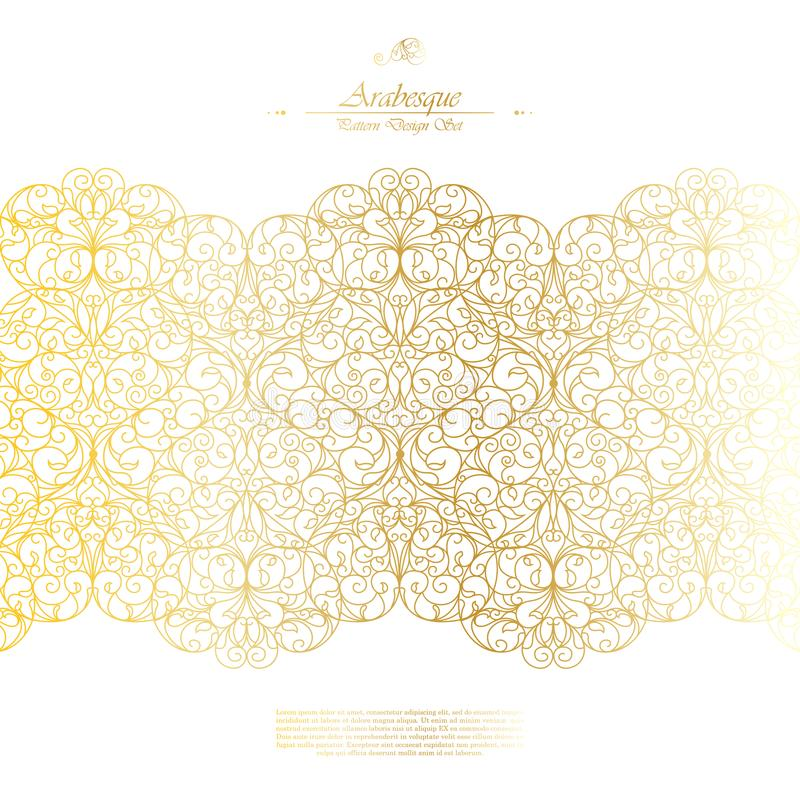 Arabesque eastern element classic white and gold background vector. Design vector illustration