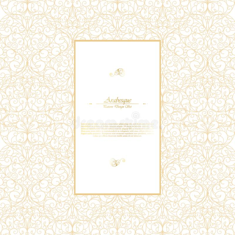 Arabesque eastern element vintage white and gold background temp. Late vector design royalty free illustration