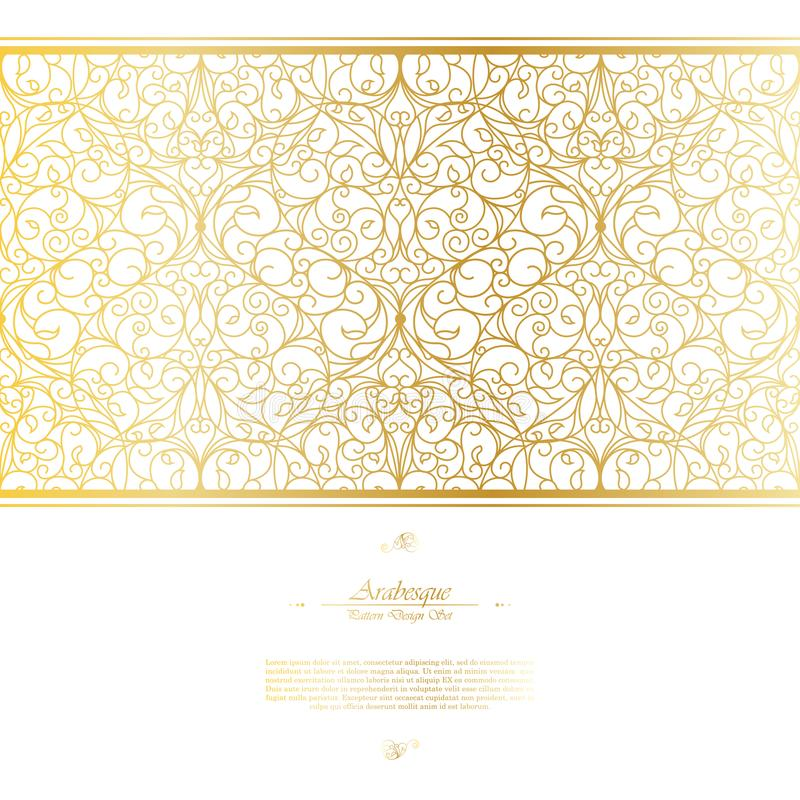 Arabesque eastern element white and gold background vector. Design royalty free illustration