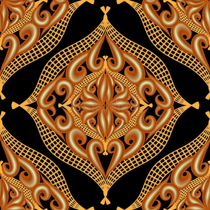Arabesque gold 3d vector seamless pattern. Arabic style floral ornamental background. Vintage oriental gold 3d flowers with. Illiminated neon effect. Lace grid royalty free illustration
