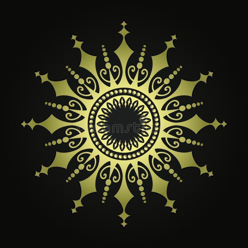 arabesque Gouden decoratief patroon Patroon 08 abstracte zonstralen Heraldische grens royalty-vrije illustratie