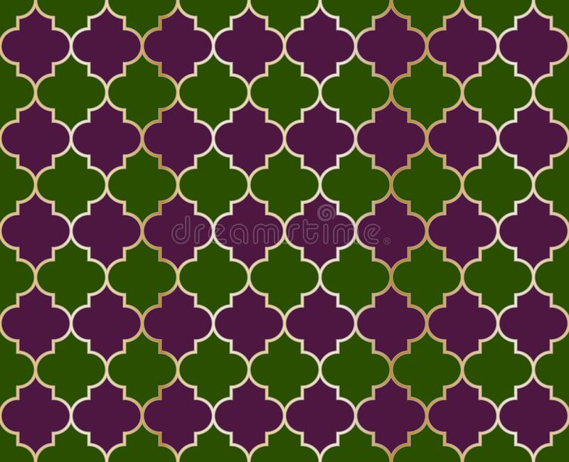 Arabesque Mosque Vector Seamless Pattern. Islamic fabric grid design of lantern shapes tiles. Arabesque Mosque Vector Seamless Pattern. Ramadan mubarak muslim stock illustration