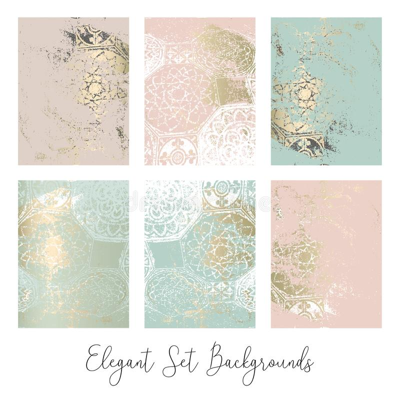 Trendy Header Design with different hand drawn shapes and textures. stock illustration