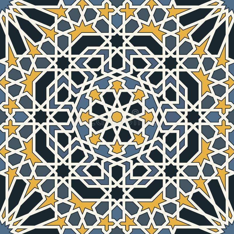Arabesque naadloos patroon in blauw en geel stock illustratie