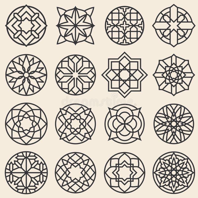 Arabesque ornaments. Vector star logo design template in arabic style. Arabesque element round flower, illustration of pattern frame arabesque royalty free illustration