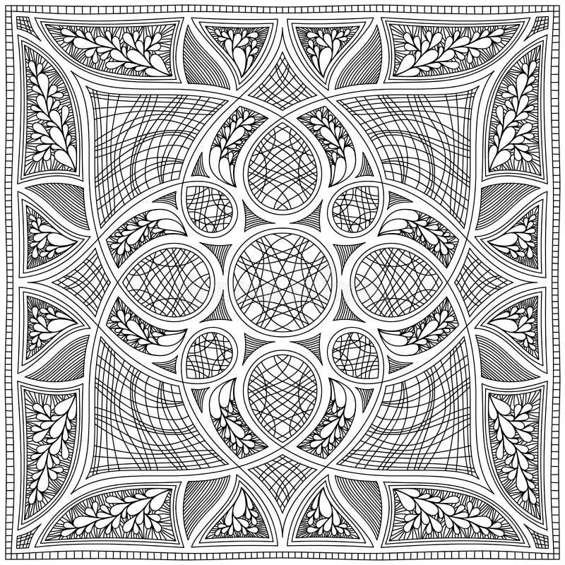 Arabesque quadrato simmetrico in bianco e nero Progettazione del tessuto fotografia stock
