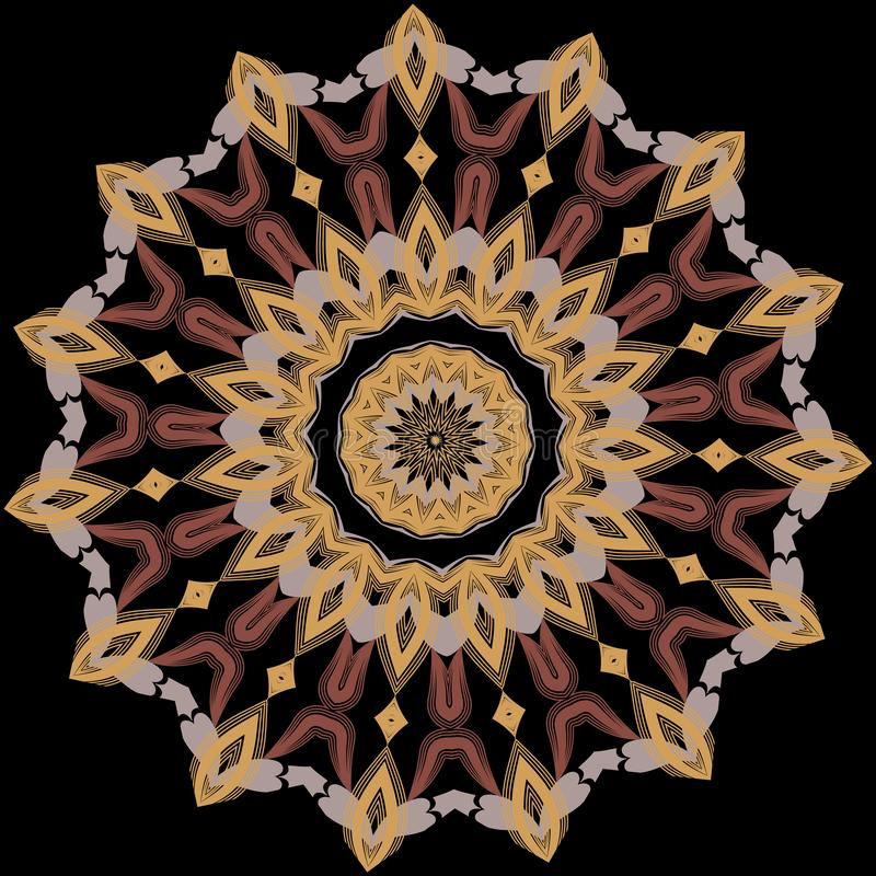Arabesque round ornament. Vector colorful ethnic style mandala. Ornamental floral pattern. Paisley flowers, leaves. Shapes, lines. Arabic background vector illustration