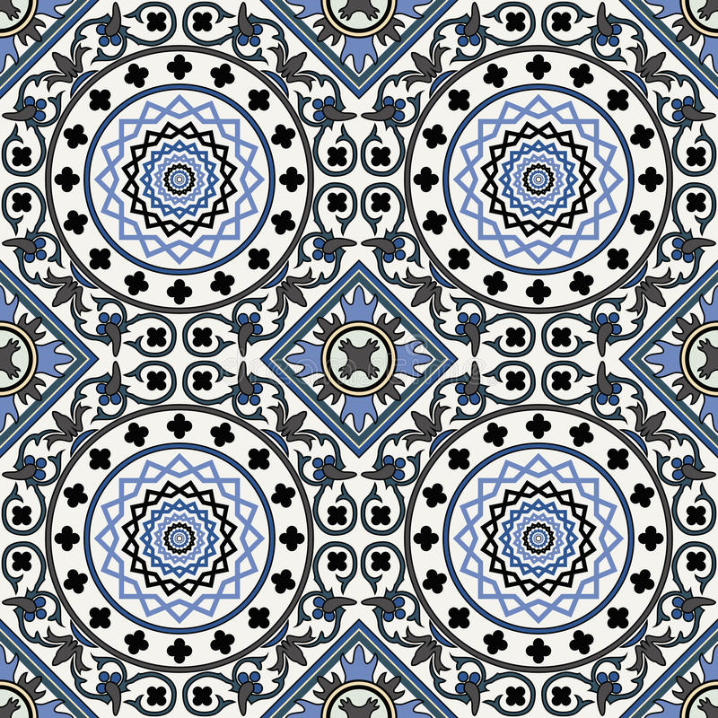 Arabesque seamless pattern in blue vector illustration