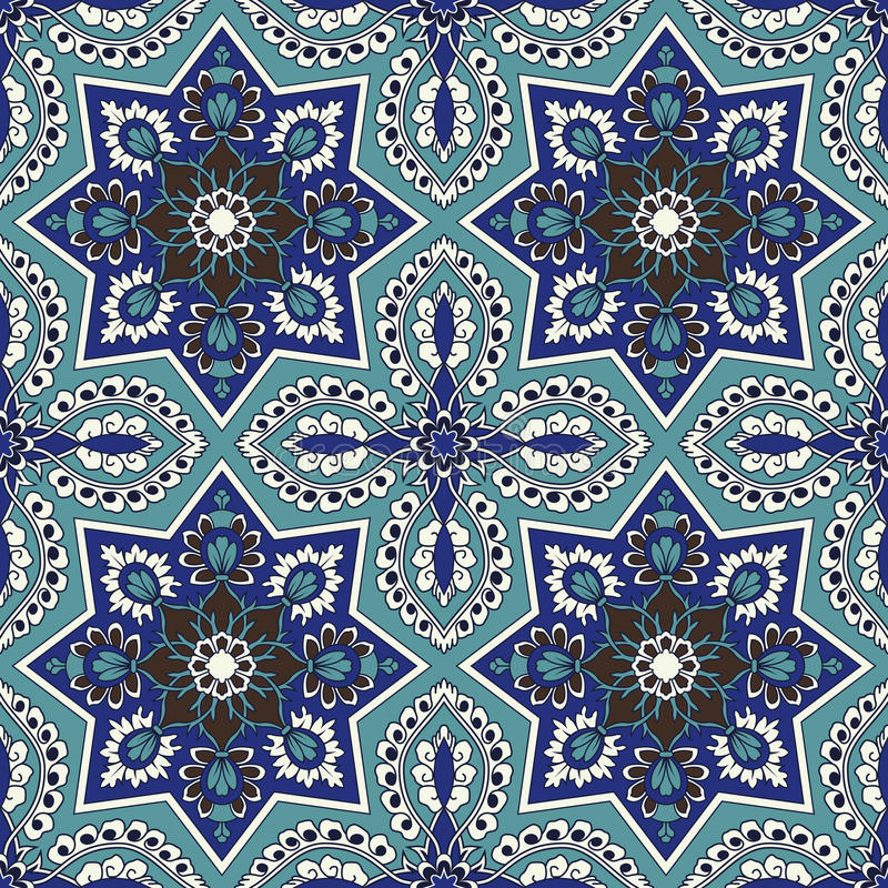 Arabesque seamless pattern in blue and turquoise. In editable vector file royalty free illustration