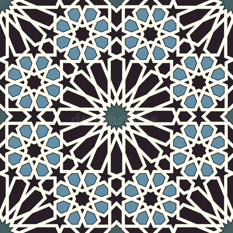 Free Arabesque Seamless Pattern In Blue And Black Stock Photography - 31521842
