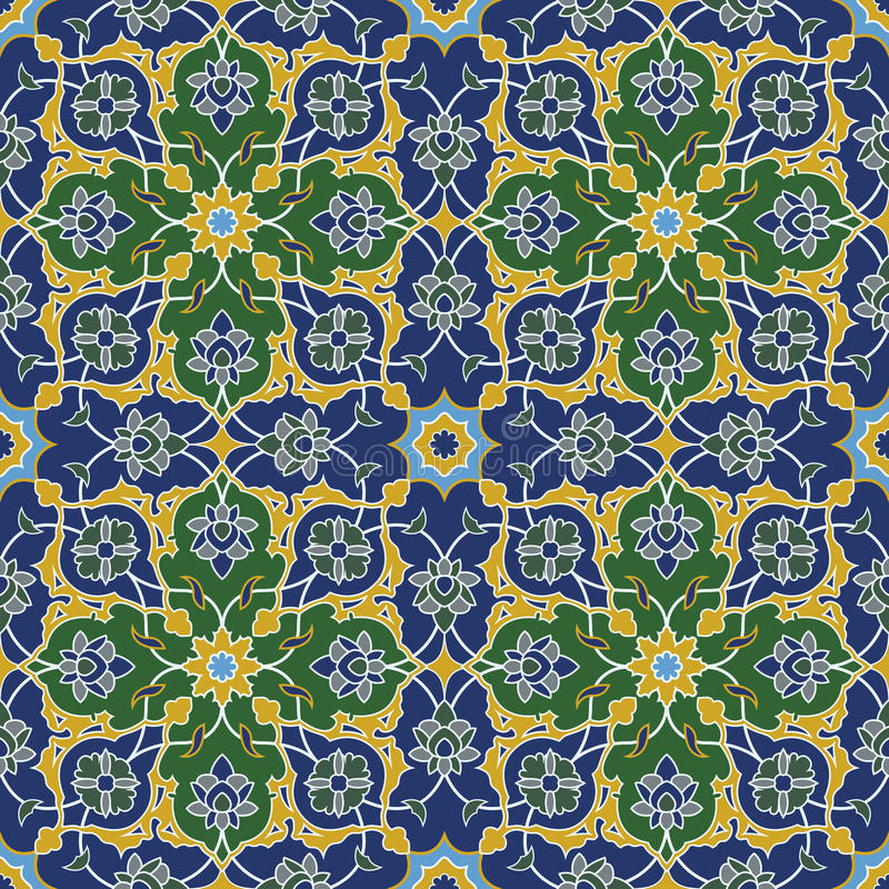 Free Arabesque Seamless Pattern In Blue And Green Royalty Free Stock Photos - 30352168