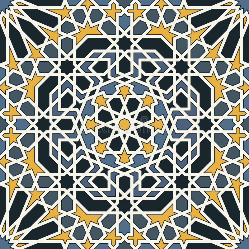 Free Arabesque Seamless Pattern In Blue And Yellow Stock Photography - 31573552