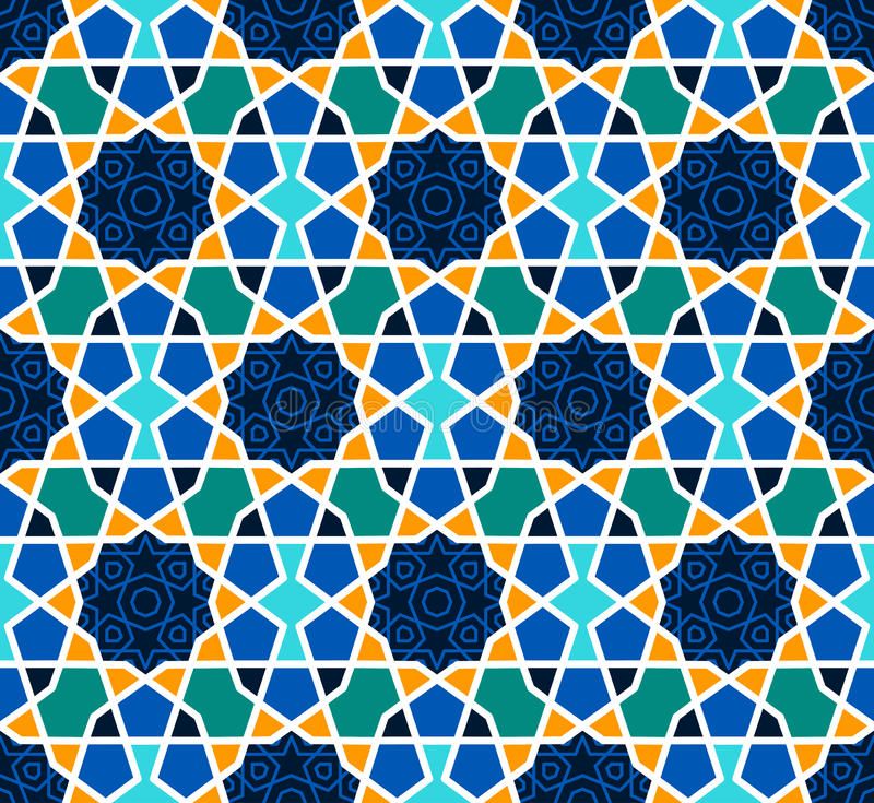 Free Arabesque Seamless Pattern With Stars On Blue Stock Photography - 92459392