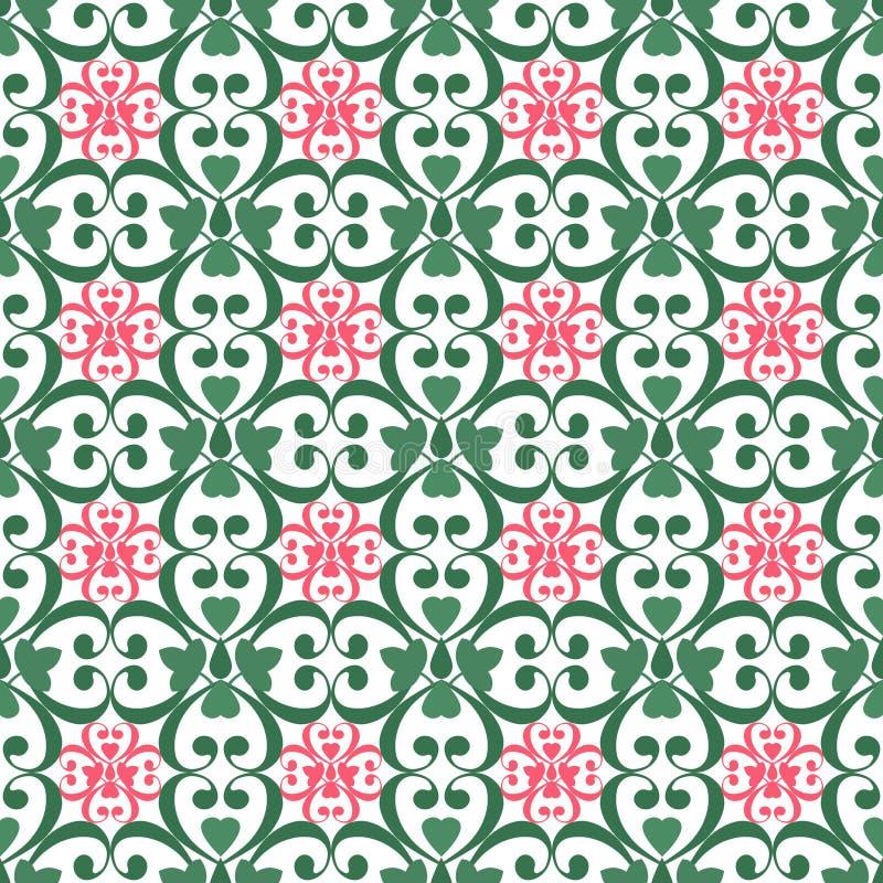 Arabesque senza cuciture orientale del damasco del modello ed elementi floreali t illustrazione di stock