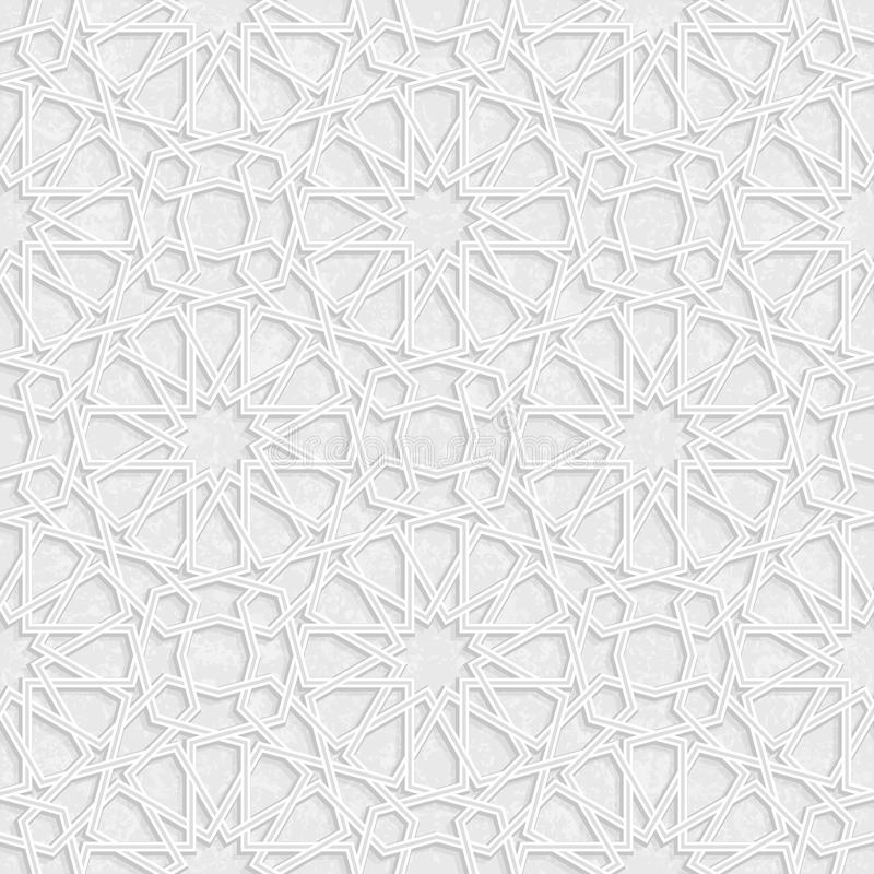 Arabesque Star Pattern with Grunge Light Grey Background, Vector royalty free illustration