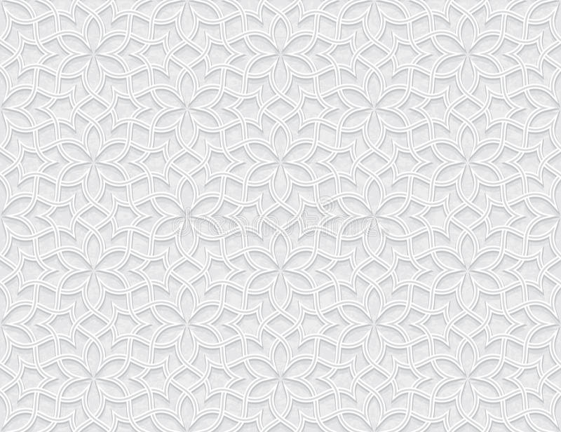 Arabesque Star Pattern with Grunge Light Grey Background royalty free illustration