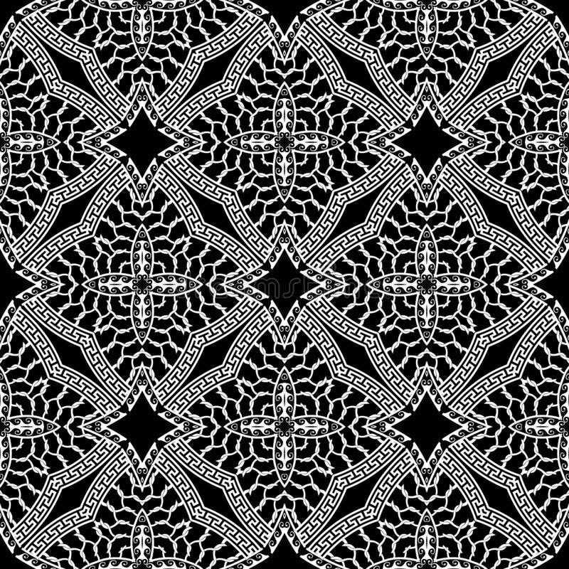 Arabesque style greek vector seamless pattern. Black and white ornamental floral background. Ethnic repeat geometric. Backdrop. Grid greek key meanders ornament vector illustration