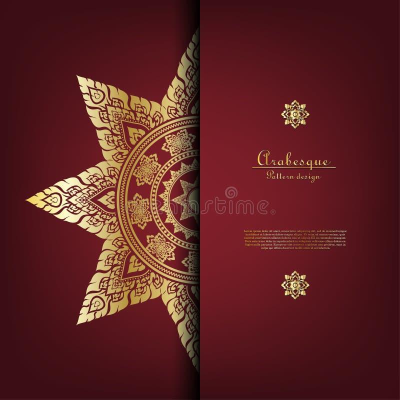 Arabesque Thai pattern gold background card template vector. Design stock illustration